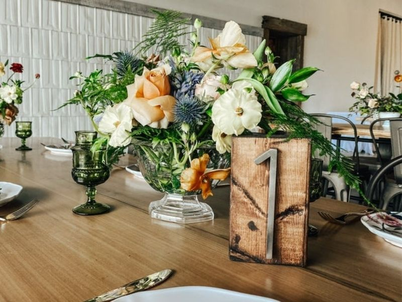 Rustic Wooden Table Numbers, Dark Wood and Nickel Rustic Wooden Table Numbers - wedding ideas & trends
