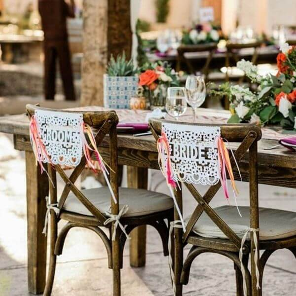 Festive Fiesta Papel Picado Bride and Groom Chair Sign