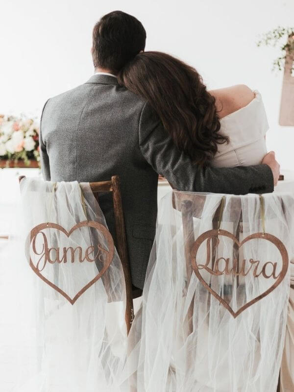 Heart-shaped Bride and Groom Chair Sign