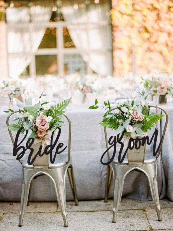 Laser Cut Bride and Groom Chair Sign
