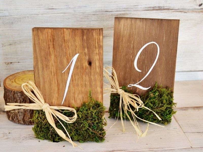 Rustic Wooden Table Numbers, Table Number with Moss and Raffia - wedding ideas & trends