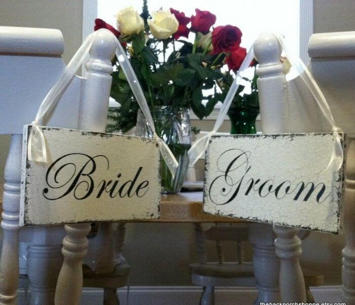 Ideas for Bride and Groom Chair Signs, Vintage White Wedding Signs