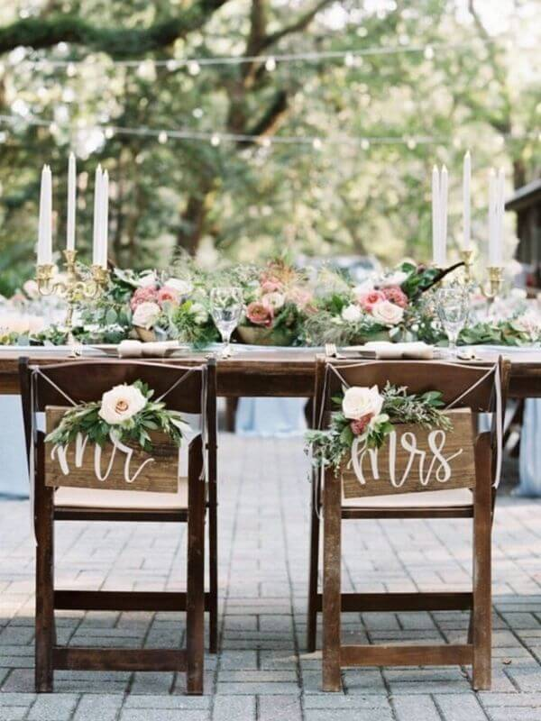 Ideas for Bride and Groom Chair Signs, Wooden Mr. and Mrs Chair Signs