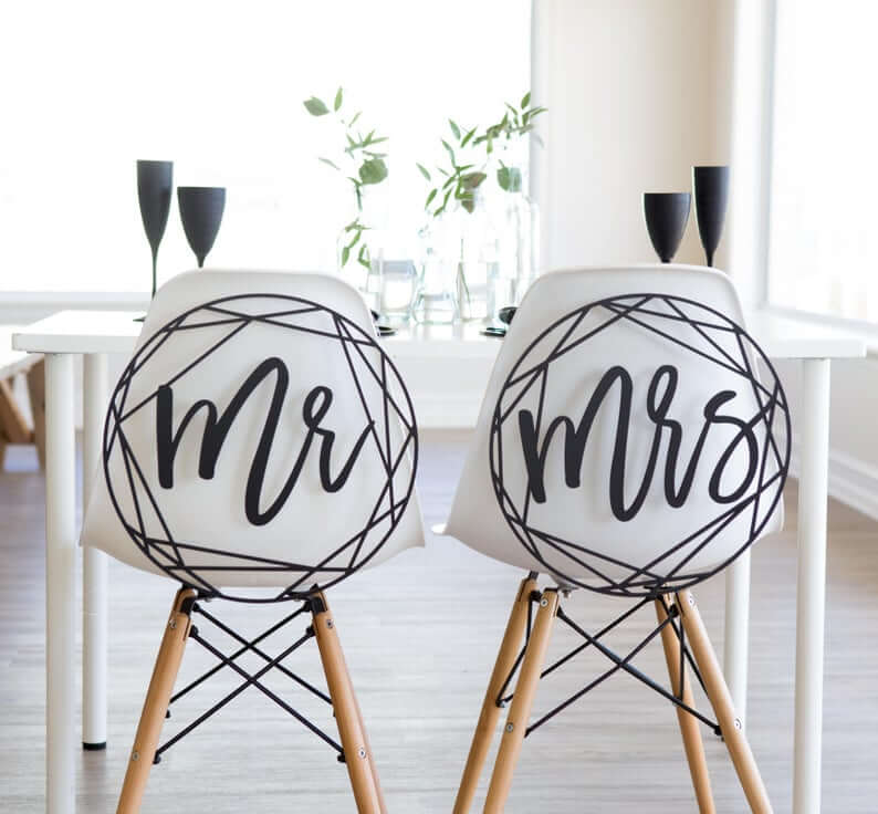 Ideas for Bride and Groom Chair Signs, Geometric Style modern wedding Signs