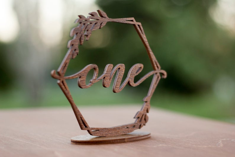 Rustic Wooden Table Numbers, Hexagon Table Numbers - wedding ideas & trends
