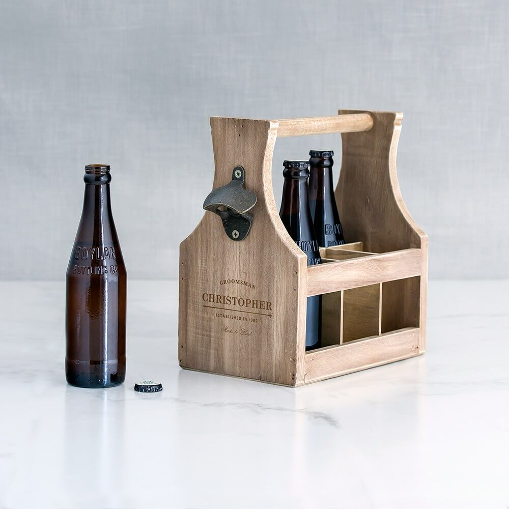 best man and Groomsmen alcohol gift boxes - Personalized Wooden Beer Bottle Caddy with Opener