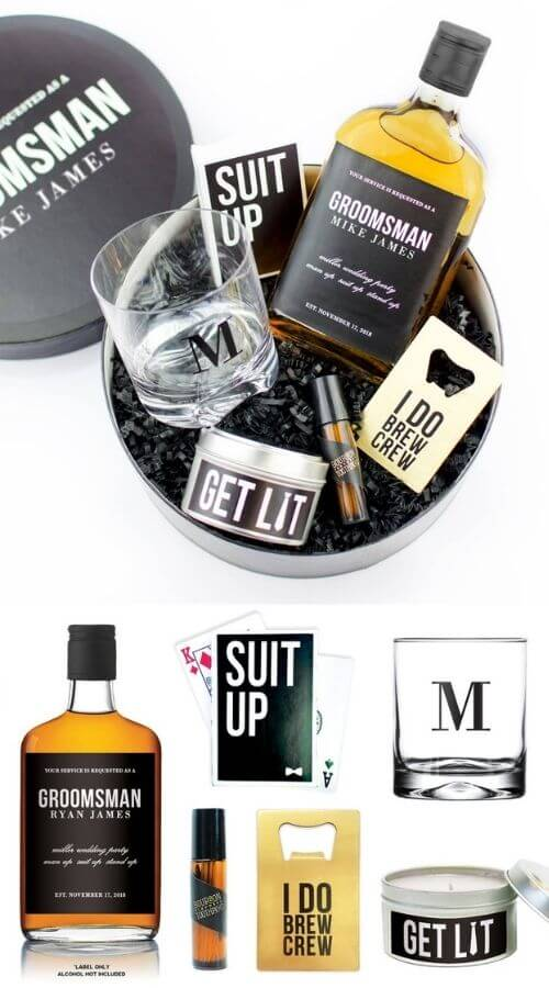 best man and Groomsmen alcohol gift boxes
