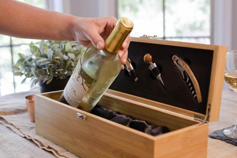 best man and Groomsmen alcohol gift boxes - Bamboo Wood Wine Gift Box Set with Tools