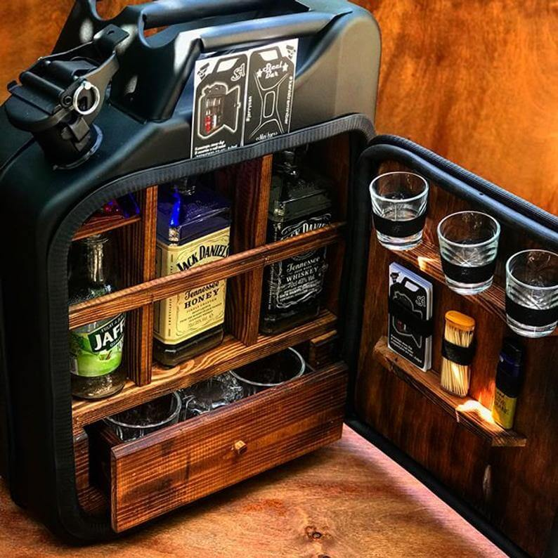 Handmade Jerry Can Mini-Bar - best man and Groomsmen alcohol gift boxes