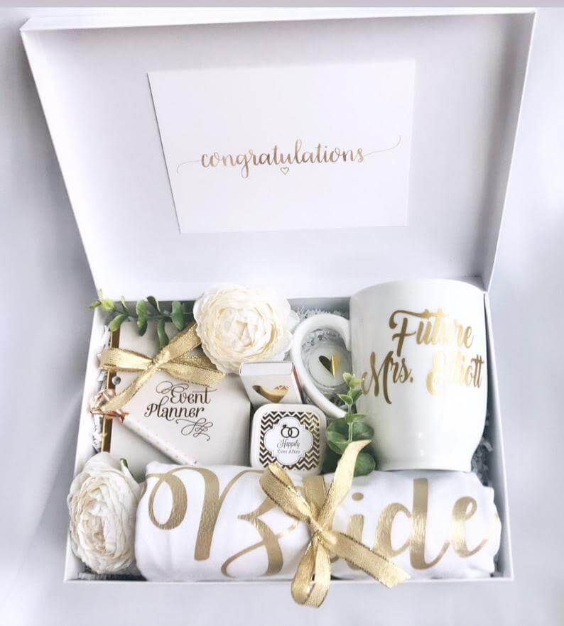 White and Gold Bridal Engagement Gift