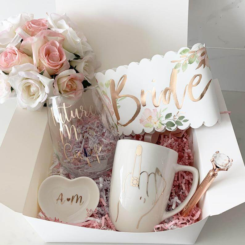 Wineglass and Mug Gift Set Engagement Basket for bride bride to be