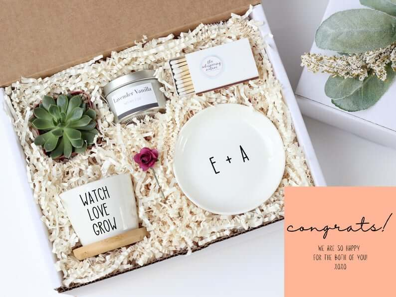 Succulent engagement gift box for the bride to be