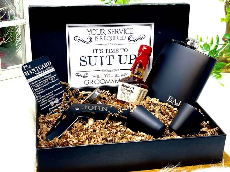 Suit Up best man and Groomsmen alcohol gift boxes