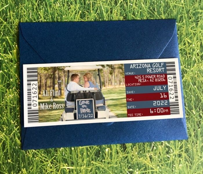 Golf Ticket Save the Date Magnet - Golf themed Wedding Invitations