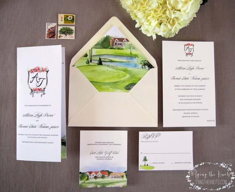Country Club Invitation Suite -  Formal Golf themed Wedding Invitations