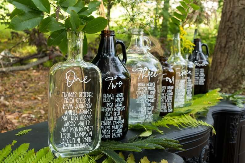Glass Bottle Seating Chart - wedding Table Numbers alternatives