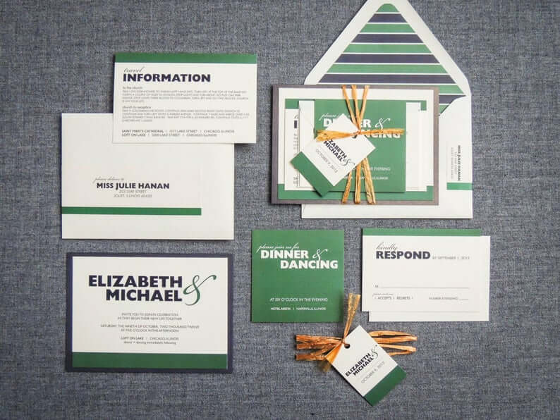 Green and Gold Golf themed Wedding Invitations